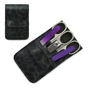 Mont Bleu 5-piece Manicure Set & Glass Nail File in Eco-Leather Case BLACK ANNA
