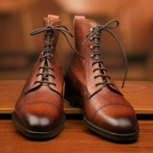 Men Handmade Brown Grain Leather Burnished Cap Toe Ankle High Lace Up Men Boots