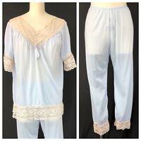 Vintage 60s Baby Blue Silky Nylon Pajama Set With Lace Trim Top Pants Loungewear