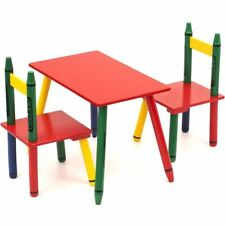 Bebe Style Childrens Crayon Wooden Table and Chair set Toddlers Childs set