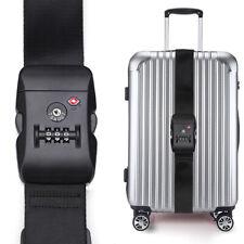 "Black Long 80"" Travel Luggage Straps TSA Adjustable Suitcase Belt Buckle Lock CA"