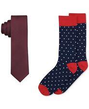 $175 BAR III Mens RED SKINNY NECK TIE 59x2.5 POLKA DOT BLUE DRESS SOCKS GIFT SET
