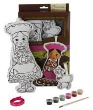 Puppe Amaya mit Lama aus Stoff zum Bemalen mit Farben Pinsel, Stoffpuppe 30 cm
