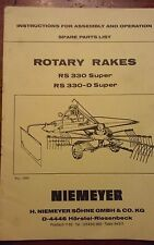 Niemeyer Rotary Rakes Rs 330 Super and Rs 330-D Super operator's and spare parts