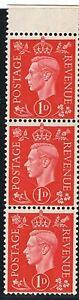 jimace29   Great Britain #236 King George VI  1937 Issue, 1D, Strip 3, Unused