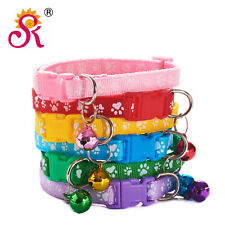 Paws Patterned Adjustable Kitten Cat Collar With Bell And Snap Buckle