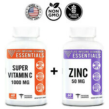 Zinc 50MG + Vitamin C 1000MG, Immune System Support - Immunity Booster (BUNDLE)