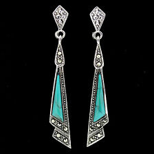 Sterling Silver 925 Vintage Style Marcasite & Sim Turquoise Drop Dangle Earring