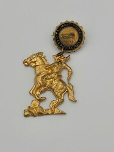 Colorado Springs Pikes Peak Summit House Lapel Pin Badge with Cowboy & Horse