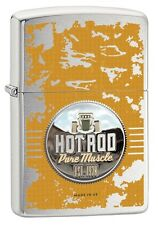 "ZIPPO ""HOT ROD PURE MUSCLE"" BRUSHED CHROME COLOR LIGHTER ** NEW in BOX **"