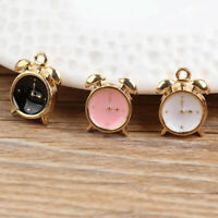 10pcs 3D Enamel Alarm Clock Charm Pendant 15*10mm For  Bracelet Jewelry Making