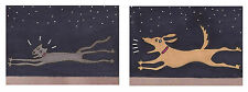 Dog Cat Chase David Venne two ACEO Canvas Folk Art Prints