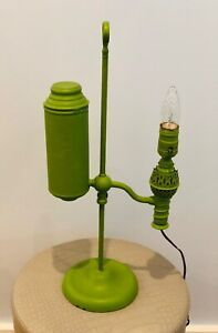 Very Unique Steampunk Lamp Painted Green Works!