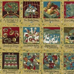 Nutex 12 Days Of Christmas Design 100% Cotton Fabric 100cm x 110cm Metallic