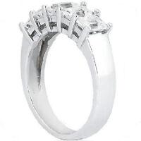 1.62 carat 5 Emerald Cut Diamond Anniversary Ring Wedding Band 18k Gold F color