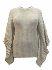 Plus size 24/26 UK ladies womans winter jumper style poncho wheat