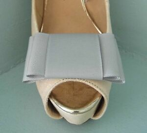 2 Silver Large Double Bow Clips for Shoes - other colours on request