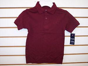 Boys Chaps $20 Uniform Burgundy or Hunter Green Polo Shirts Size S(4) - L(7)