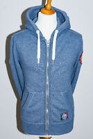 Superdry Japan Premium Mens Blue Marl Full Zip Hooded Sweatshirt Hoodie - Small
