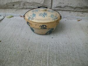 ANTIQUE BLUE & WHITE SPONGEWARE POT  EARLY  RARE ONE DUTCH KING WARE ???