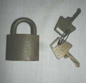 Vtg Solid Brass US Military Padlock with Two Keys American Lock Company USA