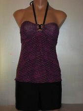 Liz Lange Maternity Swimsuit Tankini Top + Shorts Purple Black X-Small 0-2 NWT