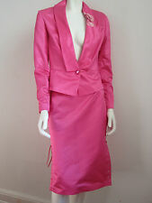ANTONIO D'ERRICO NWT Silk/Cotton Fuchsia Skirt Suit sz 42/6