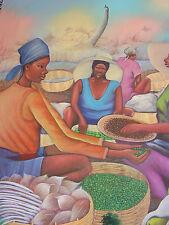 Stunning Vintage  Market Scene by Haitian Artist Fontaine