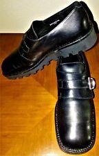 Nickels Soft Black Genuine Leather Women 8.5M Monk Strap Lug Sole Creeper Shoes