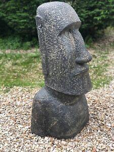 Sculpture Moaï en pierre de lave reconstituée Ht 100 cm