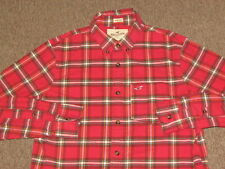 Hollister Mens Red Black & White Plaid Stretch Button Down Front Shirt S small