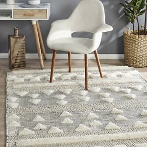 CHAREU IVORY HAND LOOMED WOOL TEXTURE MODERN FLOOR RUG - 4 Sizes **NEW**