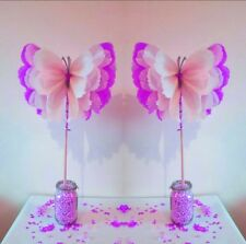 4 wedding party birthday  centrepieces tissue paper paper pompom butterflies