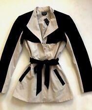NEW bebe black ivory colorblock top dress short trench coat jacket M medium 6 8