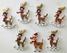 Kurt Adler Santa's Reindeer (6) + Rudolph Wood Christmas Ornaments Vintage 1977
