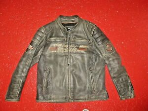 HARLEY DAVIDSON MENS  DISTRESSED LEATHER RIDING COAT XL BUT FITS LIKE A 2XL NR