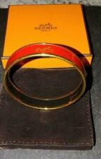 Hermes Red Enamel Small Bangle Bracelet  With Box and Pouch