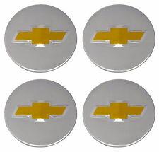 "4Pcs Wheel Center Caps Chevy Bow Tie Emblem Logo Silver 2 1/4"" 58mm 2.25 inch"