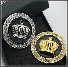 Car Metal Crystal Bonnet Badge Emblem Luxury VIP Crown 3D Logo Gold / Silver