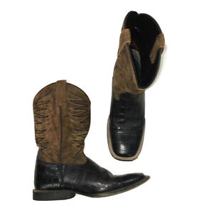 Ariat Women's Black and Brown Suede Round-Up Square Toe Boots Size 5.5 M