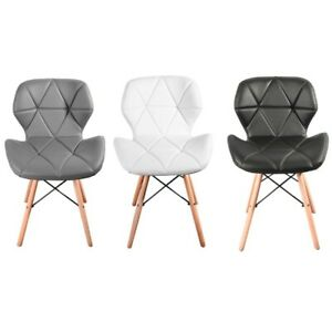 Eiffel Dining Chairs Wooden Legs Faux Leather Padded Seat Home Office Desk Chair