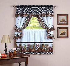 Mason Jars Set - 57 x 36 Tier Pair/57 x 36 Tailored Topper w/attached valance