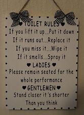 Signo de baño madera hechas a mano Inodoro Reglas Para Damas/Caballeros (Negro Sobre Blanco)