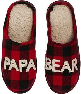 SLIPERS PAPA BEAR Dearfoams Papa Bear Plaid Clog  size small 7-8