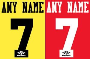 Custom Any Name Number Football Shirt Soccer Numbers Heat Print Football Umbro