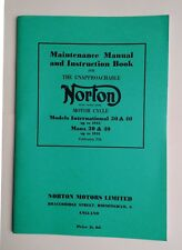 Norton Manx Maintenance Manual and Instruction Book model 30 40 up to 1951