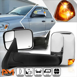 For 02-09 Dodge Ram 1500-3500 Power+Heated Chrome Towing Mirror+LED Signal Lamp
