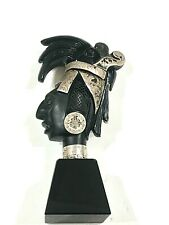 Vntg Taxco Aztec Carved Obsidian Hand Carved Statue  Native Chief Onyx/Silver