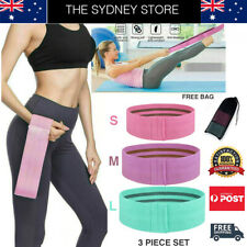 AUS STOCK 3 PC SET RESISTANCE HIP BANDS BOOTY LEGS SQUAT TONING EXERCISE FITNESS