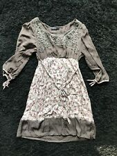 ladies brown dress size 10, Mini, Flower And Linen Detailed